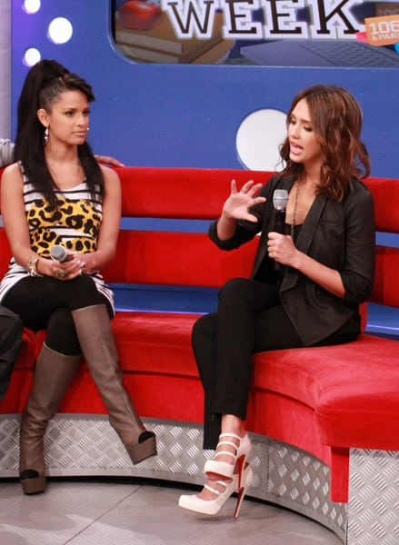 Actress Jessica Alba visits BET's '106 & Park' at BET Studios on August 30, 2010 in New York City.