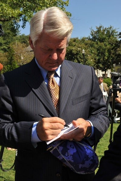 Former NFL Coach Jimmy Johnson attends Crown Royal & Jimmy Johnson Launch Crown Royal Operation CAMO Care Package at Magnolia Hall at Piedmont Park on September 16, 2010 in Atlanta, Georgia.