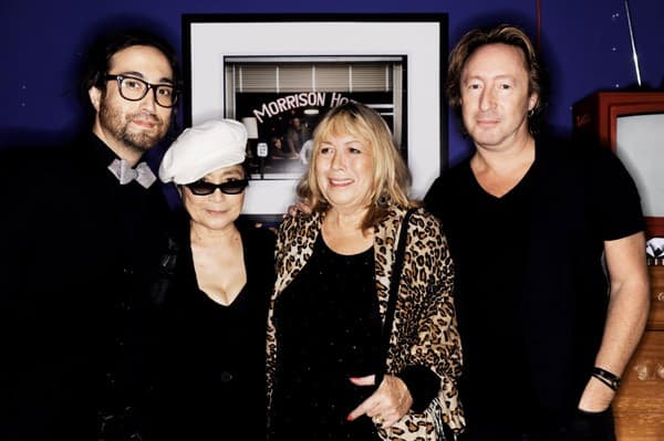 Sean Lennon, Yoko Ono, Cynthia Lennon and Julian Lennon attend the 'Timeless' photography exhibition opening party at the Morrison Hotel Gallery on September 16, 2010 in New York City.