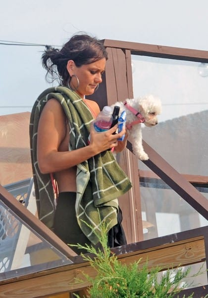 Jenni 'JWoww' Farley and her dog filming on location for 'Jersey Shore' on September 2, 2010 in Seaside Heights, New Jersey.