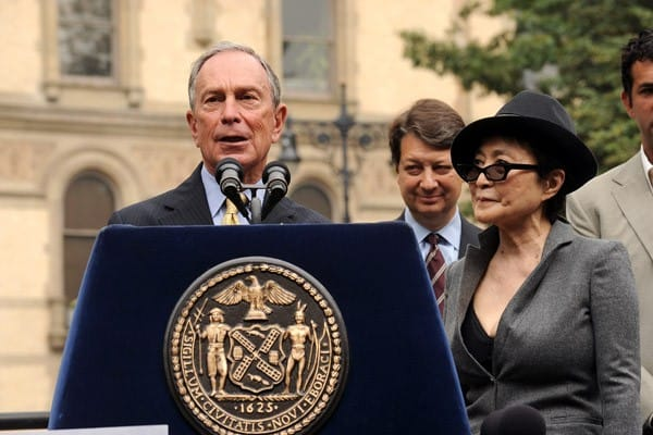 NYC Mayor Michael Bloomberg and artist Yoko Ono attend an announcement for a special screening of 'LENNONYC' at Strawberry Fields in Central Park on September 24, 2010 in New York City.