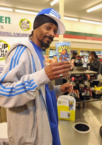 Snoop Dogg dropped his latest collaborative project – his own coffee cup for 7-Eleven's 'Coffee Cup With A Cause' program, with proceeds benefitting his Snoop Youth Football League on September 7, 2010 in Los Angeles, California.