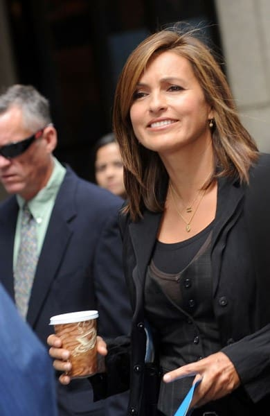 Mariska Hargitay filming on location for 'Law & Order: SVU' on the streets of Manhattan on September 10, 2010 in New York City.