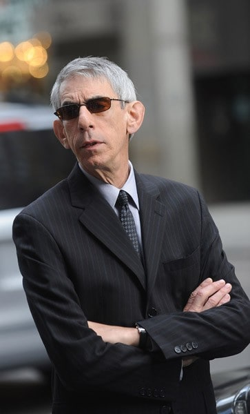 Richard Belzer filming on location for 'Law & Order: SVU' on the streets of Manhattan on September 10, 2010 in New York City.