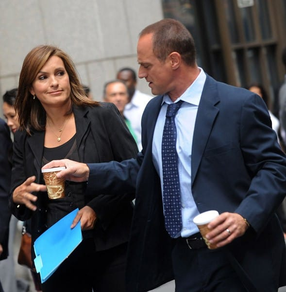 Mariska Hargitay and Christopher Meloni filming on location for 'Law & Order: SVU' on the streets of Manhattan on September 10, 2010 in New York City.