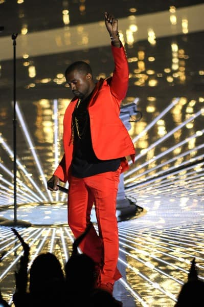 Kanye West performs on stage at the 2010 MTV Video Music Awards held at Nokia Theatre L.A. Live on September 12, 2010 in Los Angeles, California.
