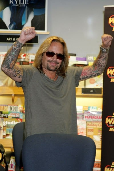 Vince Neil signs copies of his book 'Tattoos and Tequila' September 25, 2010 at Borders Book Store in Philadelphia, Pennsylvania.