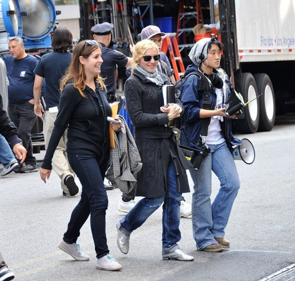 Director Madonna filming on location for 'W.E.' on the streets of Manhattan on September 13, 2010 in New York City.