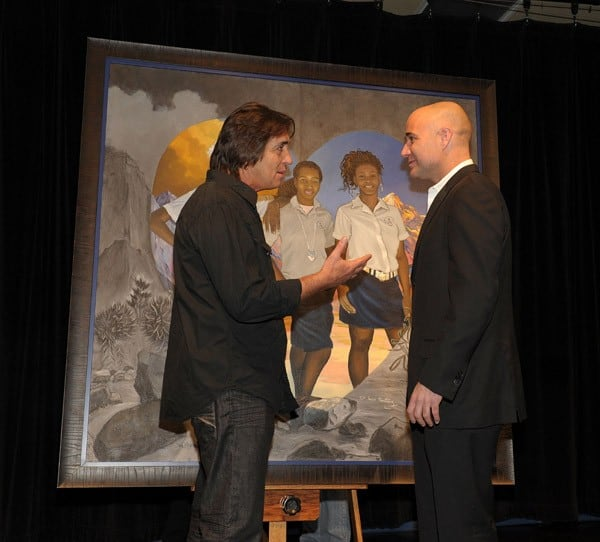 Andre Agassi (seen with artist Loppo Martinez) attends at the 2010 Andre Agassi Grand Slam For Children art unveiling at Agassi Prep on October 8, 2010 in Las Vegas, Nevada.