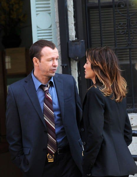 Donnie Wahlberg and Jennifer Esposito seen on location for 'Blue Bloods' on the streets of Manhattan on October 7, 2010 in New York City.