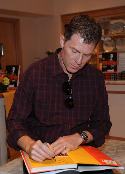 Bobby Flay promotes his new recipe book 'Bobby Flay's Throwdown!' at Williams-Sonoma at The Mall at Short Hills on October 12, 2010 in New Jersey.