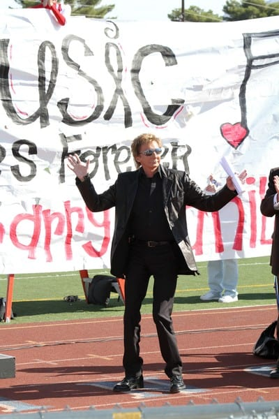 Barry Manilow at his 'Manilow Music Project' donation ceremony at Valley High School on October 7, 2010 in Las Vegas, Nevada.