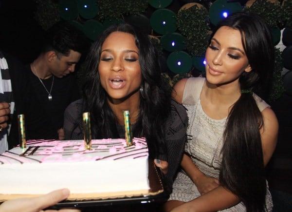 Ciara and Kim Kardashian celebrate Ciara's birthday at Greenhouse on October 26, 2010 in New York City.