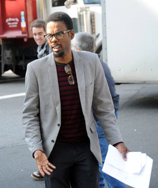 Chris Rock filming on location for '2 Days in New York' on the streets of Manhattan on October 25, 2010 in New York City.
