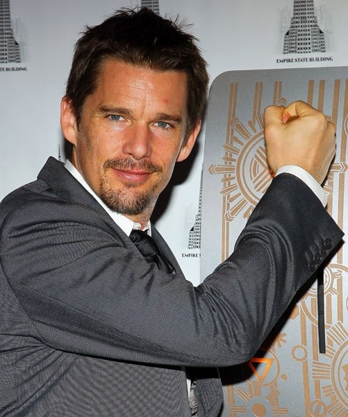 Actor Ethan Hawke lights The Empire State Building on October 28, 2010 in New York City.