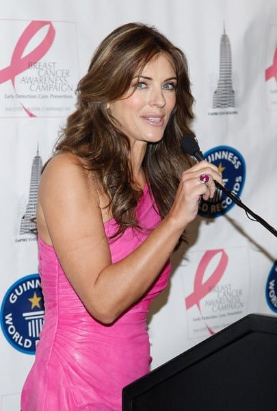 Actress Elizabeth Hurley lights The Empire State Building on October 1, 2010 in New York City.