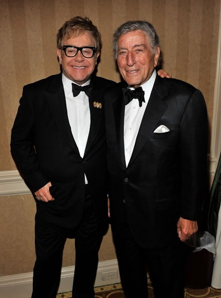 Sir Elton John and Tony Bennett attend the 9th Annual Elton John AIDS Foundation's 'An Enduring Vision' benefit at Cipriani, Wall Street on October 18, 2010 in New York City.