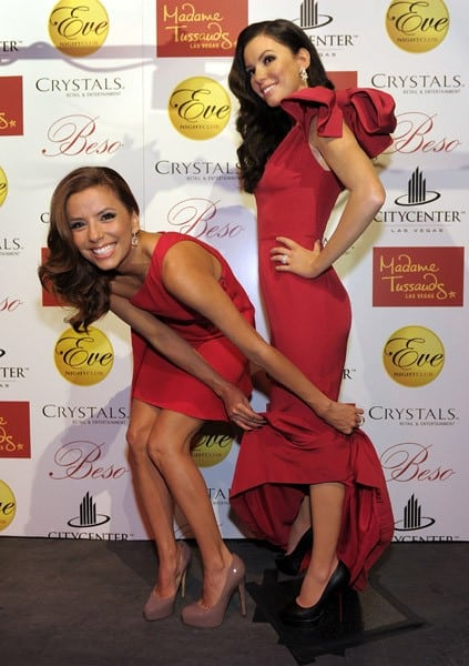 Eva Longoria Parker poses for photos with the Madame Tussauds Eva Longoria Parker wax figure at Eve Nightclub at City Center on October 13, 2010 in Las Vegas, Nevada.