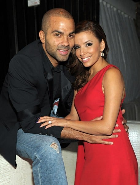 Eva Longoria Parker and Tony Parker pose for photos as the Madame Tussauds Eva Longoria Parker wax figure is revealed at Eve Nightclub at City Center on October 13, 2010 in Las Vegas, Nevada.