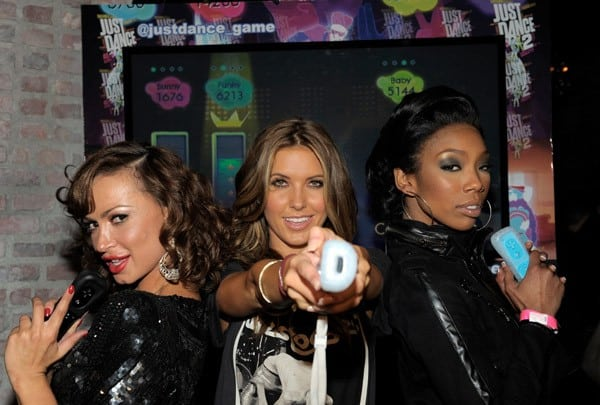 Brandy, Audrina Patridge and Karina Smirnoff attend the celebration of the launch of Ubisoft's 'Just Dance 2' at Las Palmas on October 19, 2010 in Hollywood, California.