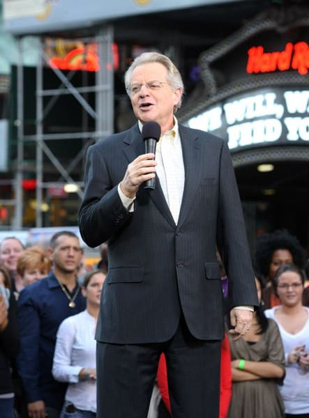 "TV personality Jerry Springer at the taping of ""The Jerry Springer Show' 20th anniversary episode at Military Island, Times Square on October 11, 2010 in New York City."
