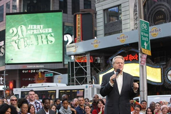 TV personality Jerry Springer at the taping of 'The Jerry Springer Show' 20th anniversary episode at Military Island, Times Square on October 11, 2010 in New York City.