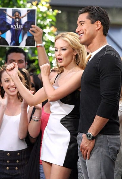Kylie Minogue and Mario Lopez are seen at The Grove on October 26, 2010 in Los Angeles, California.