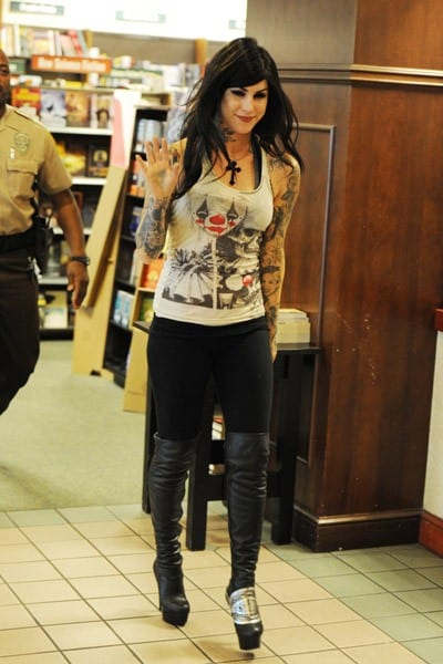 Kat Von D signs copies of 'The Tattoo Chronicles' at Barnes & Noble on October 30, 2010 in Kendall, Florida.