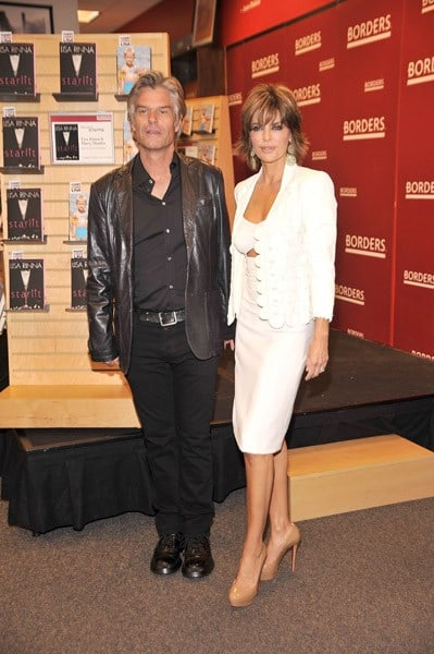 Actor Harry Hamlin and actress Lisa Rinna promote 'Starlit' & 'Full Frontal Nudity' at Borders Books & Music, Columbus Circle on October 5, 2010 in New York City.