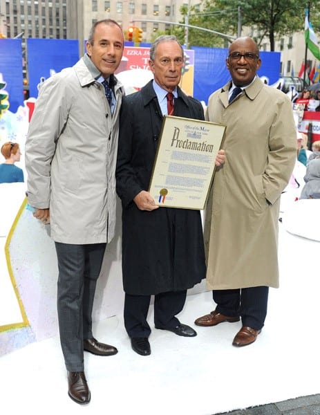 Matt Lauer, New York City Mayor Michael Bloomberg and Al Roker attend the 5th annual Jumpstart Read for the Record Day at Rockefeller Center on October 7, 2010 in New York City.