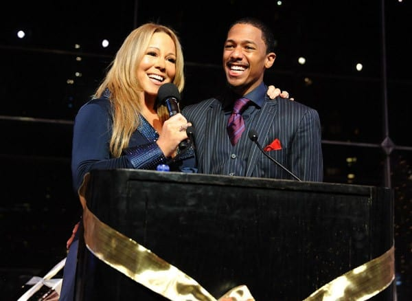 "Mariah Carey and Nick Cannon speak at the listening party for Mariah Carey's New Holiday Album 'Merry Christmas II You'"" at Allen Room at Lincoln Center on October 20, 2010 in New York, New York."
