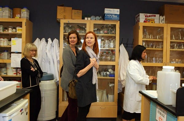 Marcia Cross visits a patient at Children's Hospital Boston on October 15, 2010 in Boston, Massachusetts.