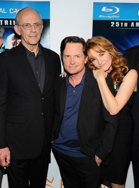Christopher Lloyd, Michael J. Fox and Lea Thompson attend the 'Back To The Future' 25th anniversary Trilogy Blu-Ray release celebration at Gustavino's on October 25, 2010 in New York City.