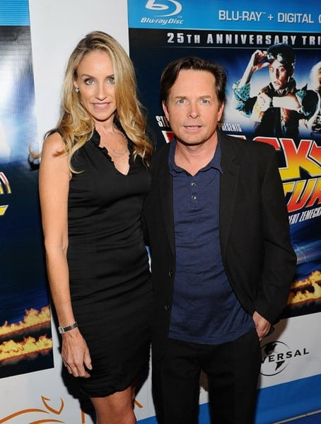 Tracy Pollan and Michael J. Fox attend the 'Back To The Future' 25th anniversary Trilogy Blu-Ray release celebration at Gustavino's on October 25, 2010 in New York City.