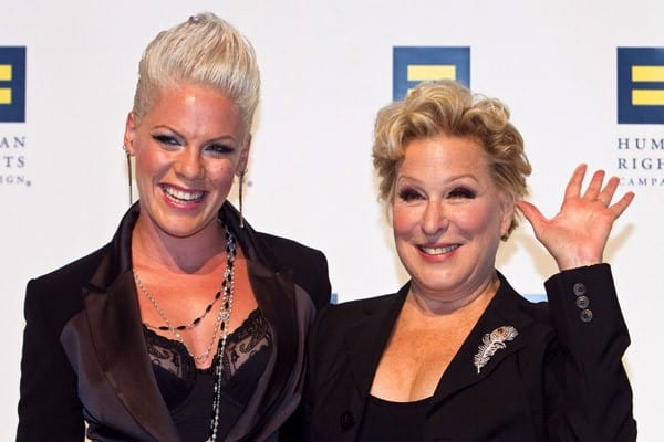 Pink and Bette Midler pose for photos at the 14th Annual Human Rights Campaign National Dinner at the Washington Convention Center on October 9, 2010 in Washington, DC.