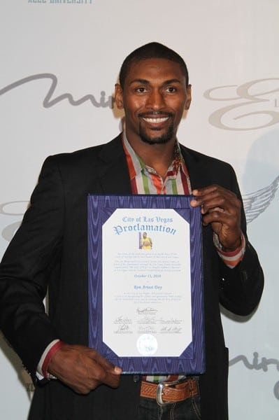 Ron Artest of the LA Lakers Receives a Key to the City of Las Vegas for His Initiative and Philanthropic Work and 'Ron Artest Day' is Proclaimed on October 12, 2010 at the Fin Restaurant at the Mirage Hotel & Casino in Las Vegas, Nevada.