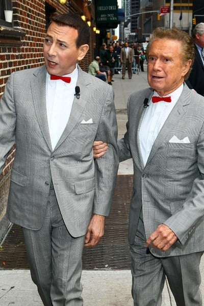 Actor Pee Wee Herman and Television Personality Regis Philbin visit 'Late Show With David Letterman' at the Ed Sullivan Theater on October 6, 2010 in New York City.
