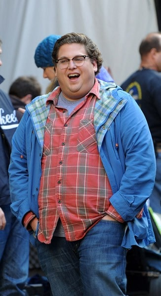 Jonah Hill filming on location for 'The Sitter' on the streets of Manhattan on October 21, 2010 in New York City.