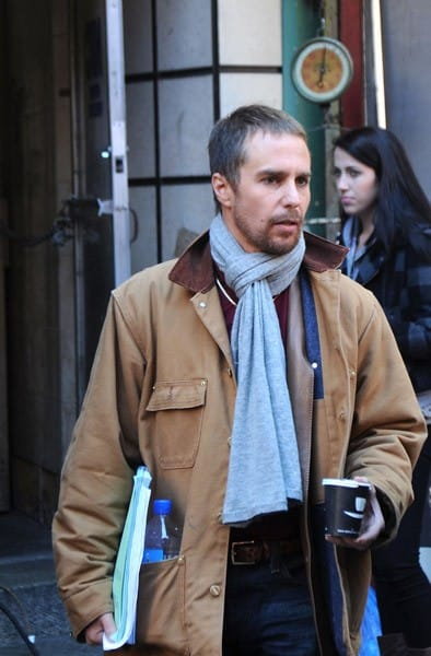 Sam Rockwell filming on location for 'The Sitter' on the streets of Manhattan on October 21, 2010 in New York City.