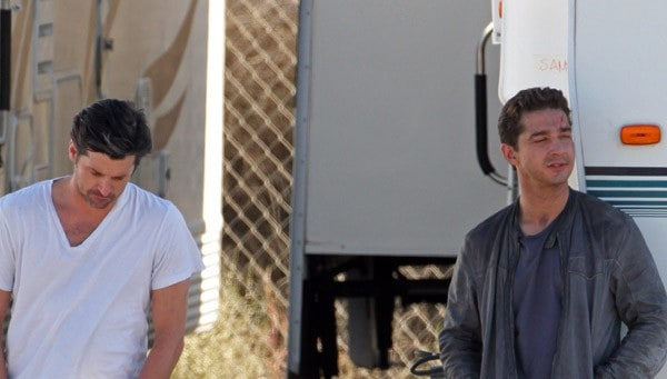 Patrick Dempsey and Shia LaBeouf are seen on location for 'Transformer 3: Dark of the Moon' on October 28, 2010 in Los Angeles, California.