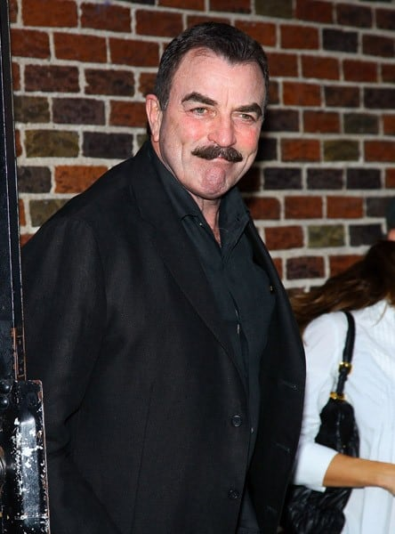 Actor Tom Selleck visits 'Late Show With David Letterman' at the Ed Sullivan Theater on September 30, 2010 in New York City.