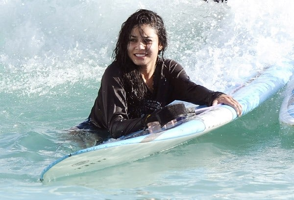 Actress Vanessa Hudgens surfs in Waikiki during the opening weekend of The Waikiki EDITION on October 17, 2010 in Honolulu, Hawaii.