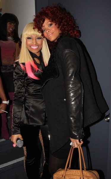 Rihanna and Nicki Minaj attend the Hot 97 Thanksgiving Thank you Concert at the Hammerstein Ballroom on November 25, 2010 in New York City.