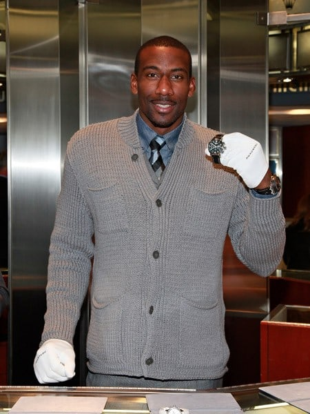 Amar'e Stoudemire, New York Knicks forward/center marks the end of Daylight Savings Time 2010 at Tourneau Time Machine on November 6, 2010 in New York City.