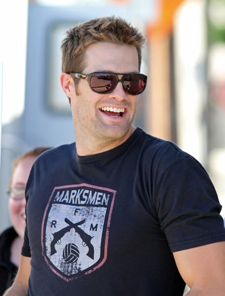 Geoff Stults is seen on location for 'BFF & Baby' on November 1, 2010 in Los Angeles, California.