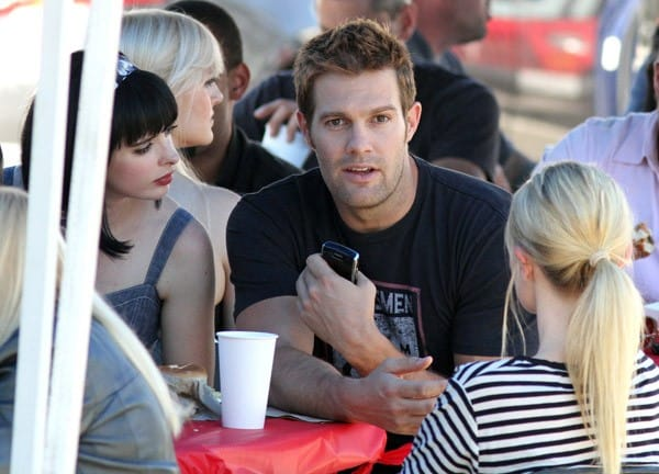Krysten Ritter, Geoff Stults and Kate Bosworth are seen on location for 'BFF & Baby' on November 1, 2010 in Los Angeles, California.