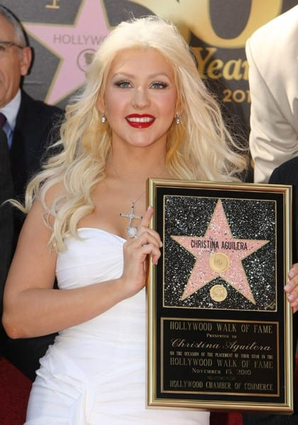 Christina Aguilera honored with a Star on The Hollywood Walk of Fame on November 15, 2010 in Hollywood, California.