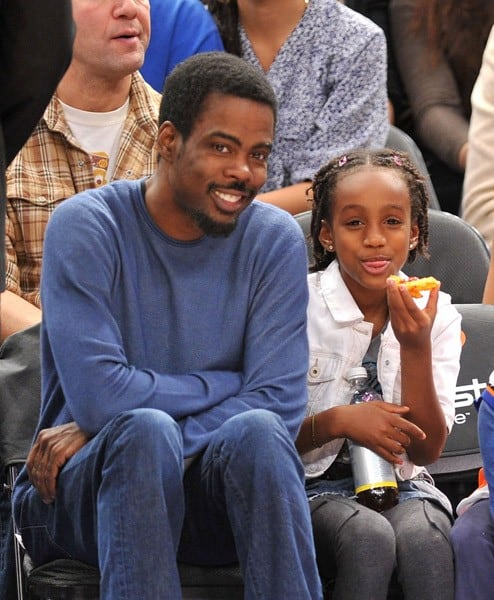Chris Rock and his daughter attend the Philadelphia 76ers vs NY Knicks Game at Madison Square Garden on November 07, 2010 in New York City.