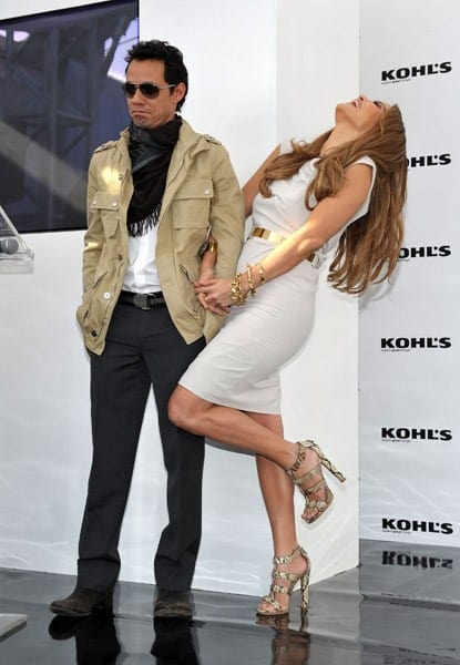 Singer Marc Anthony and singer/actress Jennifer Lopez pose at the Jennifer Lopez and Marc Anthony Announcement to Launch Two Exclusive Lifestyle Brands at Kohl's Department Stores at The London West Hollywood on November 18, 2010 in West Hollywood, California.