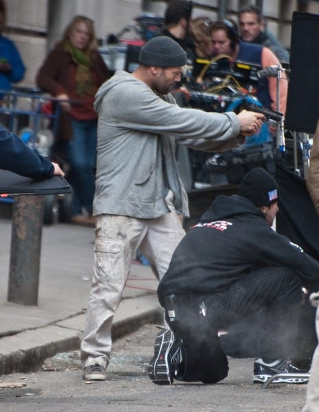 Jason Statham Filming 'Safe' at 15th and Moravian Streets in Philadelphia, Pennsylvania on October 31, 2010